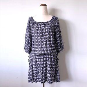 TIGERLILY Purple Navy Batik Off Shoulder Dress
